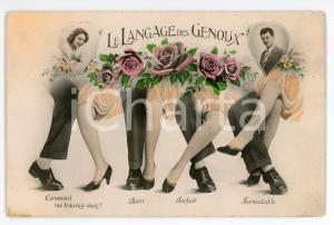 1920 ca FRANCE SEDUCTION Le langage des genoux - Carte postale vintage
