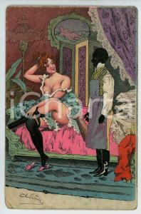 1900 ca VINTAGE EROTIC Woman with her colored servant - Chromo postcard risque