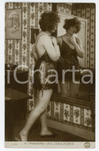 1920 ca VINTAGE EROTIC PARIS A travers les coulisses - Woman in lingerie RPPC