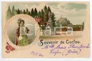 1901 CORFOU (GRÈCE) Panorama et costume typique - Carte postale ILLUSTRÉE