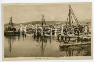1940 ca CAMPAGNA DEI BALCANI Costruzione di un ponte in Macedonia - Cartolina FP