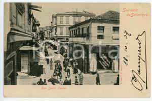 1907 SALONIQUE (GRÈCE) Rue Sabri Pacha - Photographe LEITMAR Carte postale FP VG