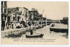 1917 SALONIQUE Incendie de Août - Les quais et Splendid Palace - Postcard