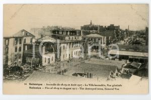 1917 SALONIQUE Incendie de Août - Ville incendiée - Carte postale FP NV