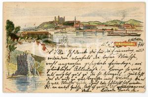 1900 POSZONY - DEVENY (HUNGARY) Landscape ILLUSTRATED Postcard FP VG