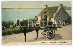 1910 IRELAND Irish jaunting car and cottage - Postcard FP VG