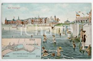 1924 BAD VLISSINGEN (NETHERLANDS) Bathhouse ILLUSTRATED Postcard FP NV