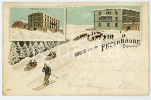 1900 ca PETERBAUDE - PETROVA BOUDA Skiers and people on sleds - Postcard FP VG