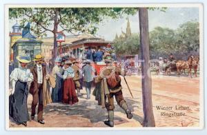 1920 ca WIEN - WIENER LEBEN Ringstrasse - People on the tram- Postcard FP NV