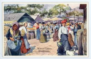 1920 ca WIEN - WIENER LEBEN Naschmarkt - People at the market - Postcard FP NV