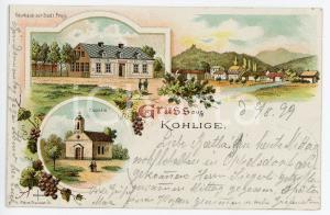 1899 UHELNÀ - KOHLIGE (CZECH) Gasrhaus - Kapelle ILLUSTRATED Postcard FP VG