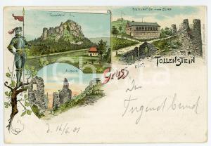 1901 TOLLENSTEIN Eingang - Restauration in der Burg ILLUSTRATED Postcard FP VG