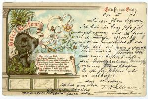 1903 GRAZ (OSTERREICH) Hotel Elefant - ILLUSTRATED Postcard FP VG