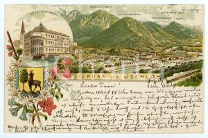 1892 ISCHL - JSCHL (OSTERREICH) Hotel Elisabeth ILLUSTRATED Postcard FP VG