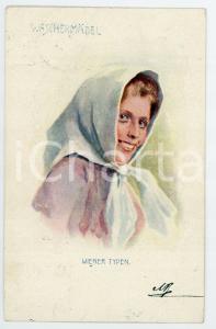 1901 WIEN - WIENER TYPE Waschermadel - Woman with shawl - Postcard FP