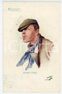1901 WIEN - WIENER TYPE Pulcher - Man with flat cap and cigarette - Postcard FP