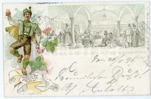 1896 GRAZ Altdeutsche weinstube zum krug im grünen kranz ILLUSTRATED Postcard FP