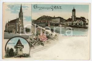 1900 ca GRAZ mit Schlossberg - Uhrthurm - Herz Jesu Kirche ILLUSTRATED Postcard