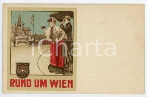 1910 ca Rund um WIEN - Salonwagen-Rundfahrten *Vintage postcard advertising