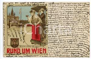 1913 Rund um WIEN - Salonwagen-Rundfahrten *Vintage postcard advertising