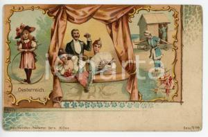 1900 ca OSTERREICH Hoop Rolling - Night at the Opera - Woman at beach - Postcard