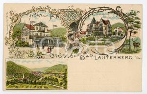 1900 ca BAD LAUTERBERG IM HARZ Hotel zur Krone - Villa Hahn ILLUSTRATED Postcard