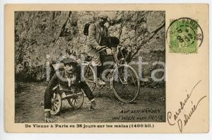 1900 CYCLING DISABILITY Auf den Handen from Wien nach Paris - Vintage postcard