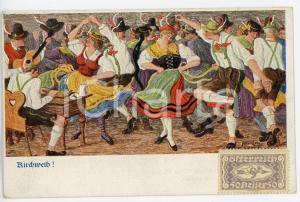 1920 ca OSTERREICH Kirchweih - Folk dance ILLUSTRATED Postcard FP NV
