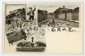1900 ca GRAZ Franz Joseph Brunnen - Waldlilie in Stadtpark ILLUSTRATED Postcard