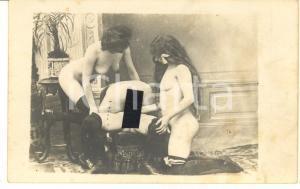 1910 ca VINTAGE EROTIC LESBIAN Group sex - 4 women (1) RARE PORN Photo 14x9 cm