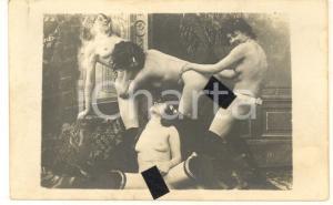 1910 ca VINTAGE EROTIC LESBIAN Group sex - 4 women (2) RARE PORN Photo 14x9 cm