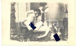 1910 ca VINTAGE EROTIC LESBIAN Group sex - 4 women (4) RARE PORN Photo 14x9 cm