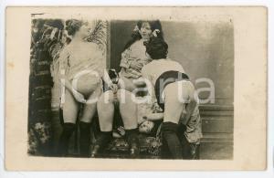 1910 ca VINTAGE EROTIC LESBIAN Group sex - 4 women (5) RARE PORN Photo 14x9 cm