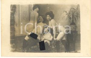 1910 ca VINTAGE EROTIC LESBIAN Group sex - 4 women (6) RARE PORN Photo 14x9 cm