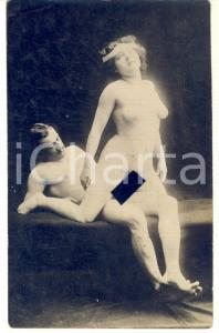 1910 ca VINTAGE EROTIC Nude couple having sex (10) RARE PORN Photo RPPC