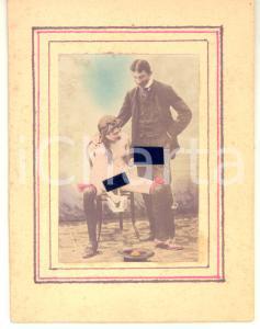 1890 ca VINTAGE PORN Couple having oral sex - pee - RARE Photo chromo 10x13 cm
