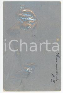 1900 ca ART NOUVEAU Young woman - ILLUSTRATED RARE embossed silver postcard