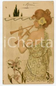 1906 ART NOUVEAU Young woman playing the double flute - ILLUSTRATED postcard