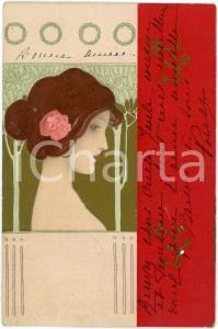 1908 ART NOUVEAU Raphael KIRCHNER - Young woman - RARE illustrated postcard