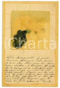 1903 ART NOUVEAU Woman with horse - RARE ILLUSTRATED embossed postcard