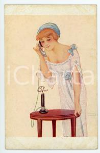 1920 ca Artist Raphael KIRCHNER - Oiu j'attends - Illustrated vintage postcard