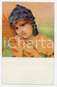 1915 ca Artist Raphael KIRCHNER - La Glaneuse - Illustrated vintage postcard