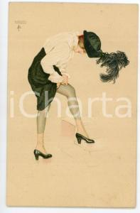 1915 ca Raphael KIRCHNER Le coup de la Jarretelle - Illustrated postcard