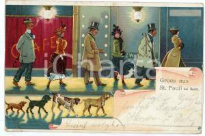 1908 HAMBURG - ST. PAULI bei nacht - People and dogs ILLUSTRATED Postcard FP NV