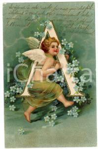 1905 ALPHABET Angel with letter A - ILLUSTRATED embossed postcard FP VG