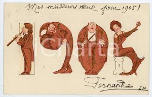 1905 BONNE ANNÉE Orchestra - Anthropomorphic date - Illustrated Postcard FP VG