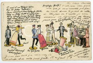 1900 ca BELGIUM - TOYS Puppet orchestra and puppet dancers ILLUSTRATED Postcard