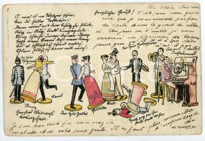 1900 BELGIUM - TOYS Puppet choir ILLUSTRATED Postcard FP VG