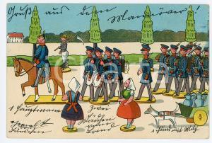 1900 ca GERMANY - TOYS Puppet army ILLUSTRATED Postcard FP NV