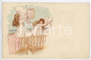 1900 ca CHILDREN Young girls during a pillow fight - Artist MARS Postcard FP NV